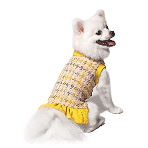 TONY HOBY Hundepullover Kleider, Haustier Pullover mit Leine Loch, Hahnentrittmuster Hund Pullover Warm...