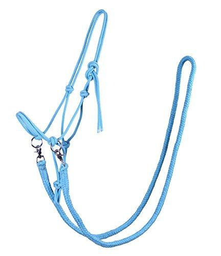 Knotenhalfter mit Zügel Halfter Reithalfter Arbeitshalfter QHP 7 Farben und 4 Größen (full, hellblau)