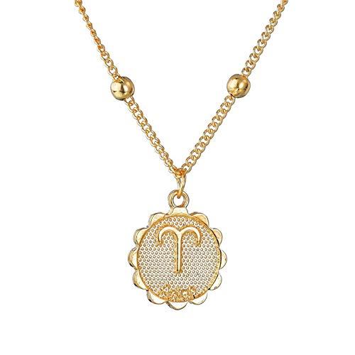 DCRZTY Sternbild Halskette,Elegante Stern Widder Sternzeichen 12 Sternbild Halsketten Anhänger Charme...
