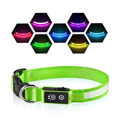 PcEoTllar LED Leuchthalsband Hunde Halsband USB Wiederaufladbar Wasserdicht 7 Farbwechsel Halsband Hund...
