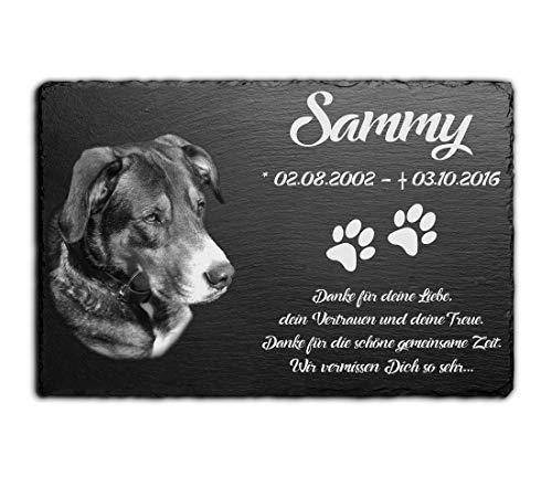 Grabstein für Hund & Katze aus Schiefer mit Gravur / Foto | Gedenktafel Hunde mit Bild & schönen...