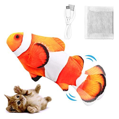 Dyroe Katzenspielzeug Elektrische Fische, Elektrisch Spielzeug Fisch mit Katzenminze Katzen Spielsachen...
