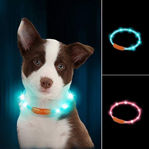 LaRoo led Hund leuchthalsband Leuchtend USB aufladbar hundehalsband Längenverstellbarer wasserdicht für...