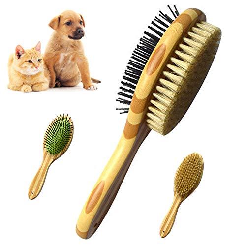 Sunwuun Katzenbürste Hundebürste, Pin Pets Bambus Massage Badebürste für Hunde Katzen Langhaar...
