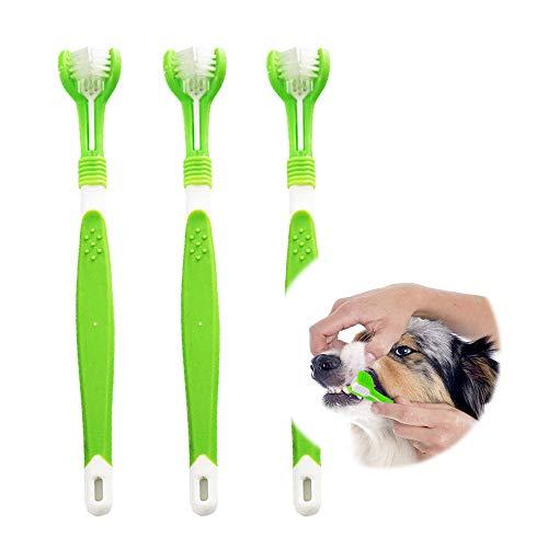 KTL Hundezahnbürste, Hundezahnbürste für Haustierzahnpflege, Dreifach-Kopf-Zahnbürste, einfache...