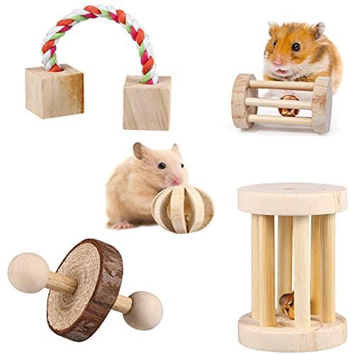 CUIFULI Hamster-Kauspielzeug Natürliches HolzBackenzähnen-Spielzeug-Set für kleine Tiere Zahnpflege...