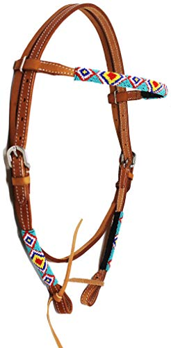 CHALLENGER Reithalfter aus Leder mit Perlen und Stirnband, 79114HB1