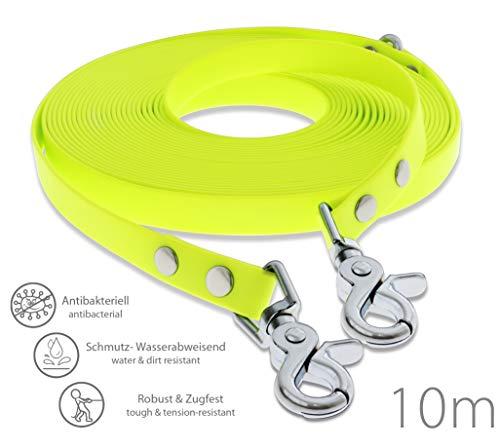 SNOOT Schleppleine 10m - Neon-Gelb - zugfeste, schmutz- und Wasserabweisende Hundeleine mit Zwei...