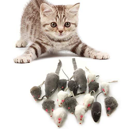 PietyPet Katzenspielzeug, Mäuse Spielzeug Mouse Katze Haustier Weich Flauschig für Katzen Kitty 16...
