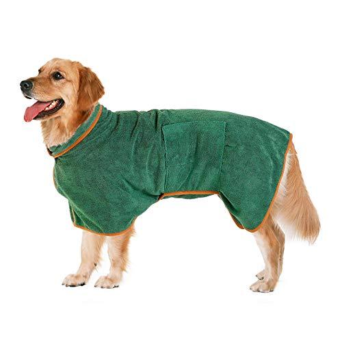 Pejoye Hundebademantel, Hunde Handtuch mit Verstellbarem Riemen Hund Bademantel Mantel Haustier Trocknen...