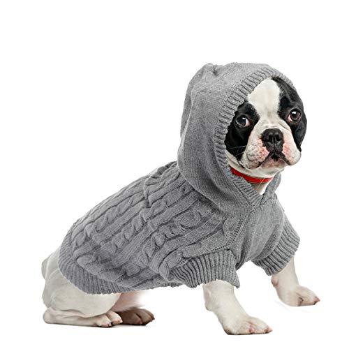 ubest Warme Hundepullover, Sweater Gestrickter Pullover mit Kapuze für Kleine Hunde, Hund Pullover für...