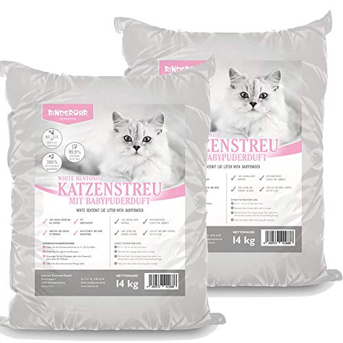 Rinderohr® Katzenstreu mit Babypuderduft 28kg
