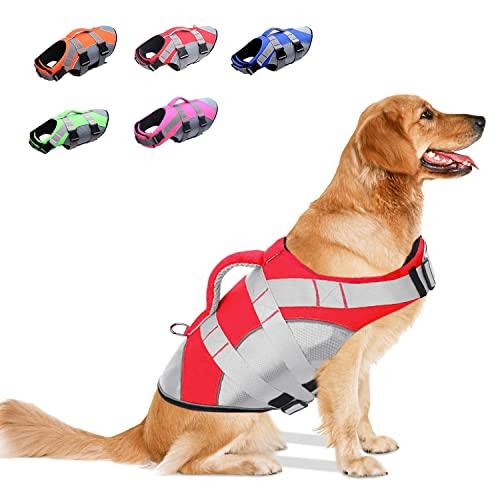 OEFWING Hundeschwimmweste, Ripstop-Sicherheits-Schwimmweste, verstellbar, mit starkem Auftrieb und...