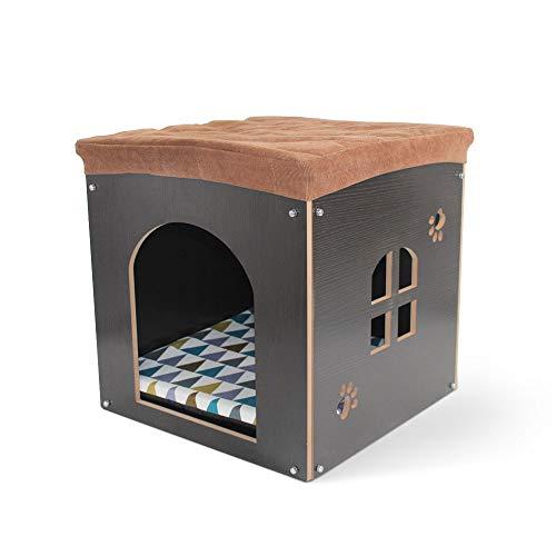 Hundehütte aus Holz mit Matte – Abnehmbare Katzenhöhle im Form von Hocker, Faltbares Haustierhaus...