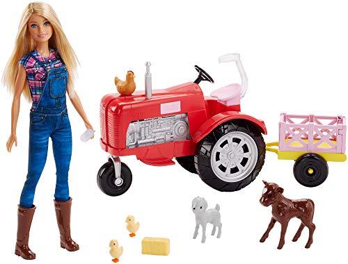 Barbie FRM18 - Bäuerin Puppe mit Traktor, abnehmbaren Anhänger und 5 Tiere, Bauernhof Puppen Spielset,...