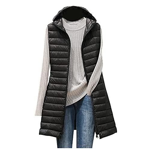 Kolylong®Damen Kapuzen Daunenweste Mantel - Winter Leichte Lange Schlanke Weste Jacke, Übergroße...