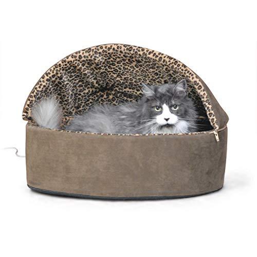KH 773198 Pets, Deluxe Hooded Thermo Heated Bed, beheiztes, überdachtes Hunde- und Katzenbett - Mocha
