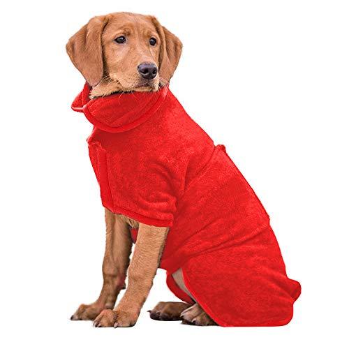 PETTOM Hundebademantel Mikrofaser Badetuch Hund Bademantel für Kleine Mittlere und Große Hunde (XL,...