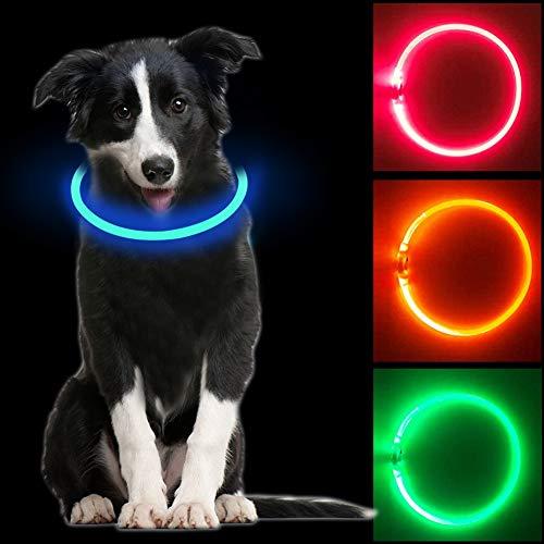 Leuchthalsband Hund, LED Hundehalsband Leuchtend USB aufladbar, Längenverstellbareres Hunde Halsband mit...