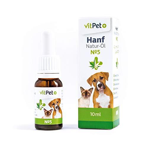VitPet+ Hanf Natur-Öl Tropfen No 5 - Natürliches Hanfsamenöl - Für Hunde und Katzen - 10 ml für...