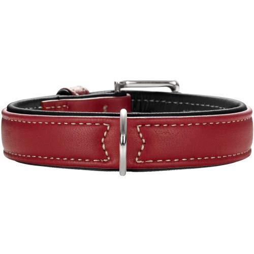 HUNTER Canadian Hundehalsband, Leder, hochwertig, weich, 55 (M), Chili/schwarz