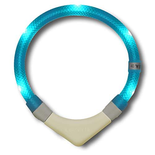 LEUCHTIE® Leuchthalsband Plus NL türkis Größe 40 I nachleuchtend phosphoreszierendes Batterieteil I...