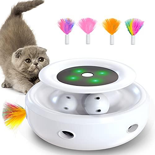 goopow interaktives katzenspielzeug, Hinterhalt mit Kugelbahnen 2-in-1-katzen Spielzeug mit 4...
