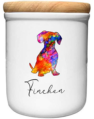 Cadouri Keramik Leckerli-Dose DACKEL » personalisiert mit Name deines Hundes «┊Snackdose Keksdose...