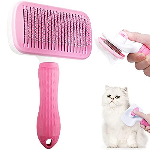 Haustier Hundebürste, Haustierbürste Selbstreinigend Katzenbürste Hundebürste Langhaar Haustier...