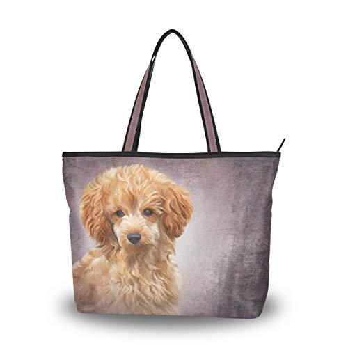 MyDaily Damen Schultertasche Spielzeug Pudel Welpe Hund Vintage Handtasche, Mehrfarbig - mehrfarbig -...