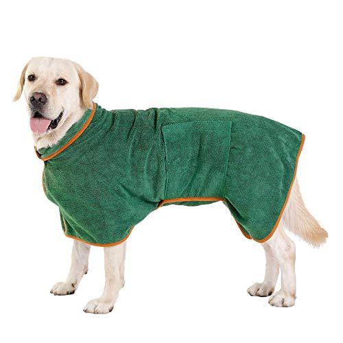 Pejoye Bademantel Hund, Hunde Handtuch mit Verstellbarem Riemen Hund Bademantel Mantel Haustier Trocknen...