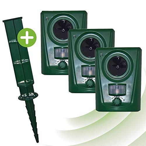 ISOTRONIC Tierabwehrgerät Ultraschall Tiervertreiber – 3er Set – Batteriebetrieb – Akustische...