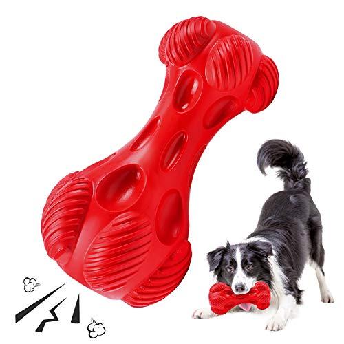 G.C Kauspielzeug Hund, Hundespielzeug unzerstörbar quitschend Kauknochen Hund Robust Naturkautschuk...