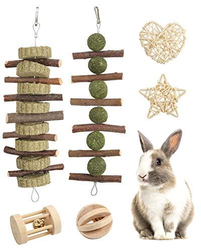 Woiworco Kaninchenkauspielzeug, 6er-Pack Hasenkauspielzeug 100% natürliche Materialien von Handgefertigt...