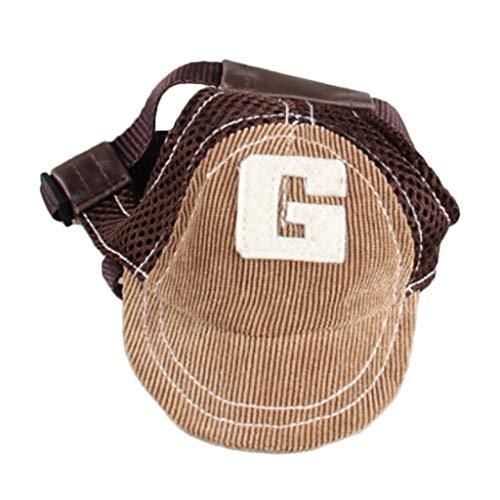 PETSOLA Hund Baseballmütze Sonnenhut Baseball Cap Mütze Kappe für kleine und große Hunde - Kaffee, M