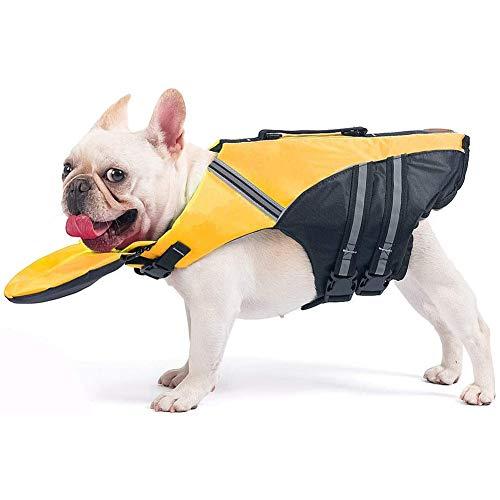 Eforcase Schwimmweste für Hunde, leicht, sicher, geeignet für Haustiere, Welpen und Hunde, Gelb