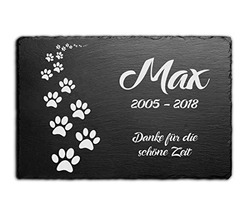 CHRISCK design Gedenktafel für Hunde mit Gravur Grabstein Pfoten Gedenkstein Schiefer Tafel Tier...