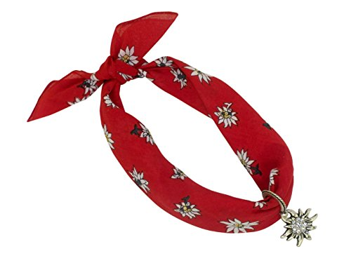 Rotes Nickituch im Edelweißdesign mit Herzanhänger mit Edelweißornamenten | Bandana aus 100% Baumwolle...