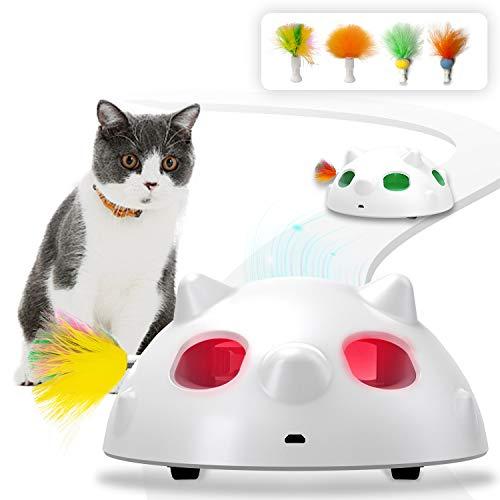 HOFIT Interaktives Elektrischer Katzenspielzeug,Automatischer Federspielzeug mit Feder interaktives...