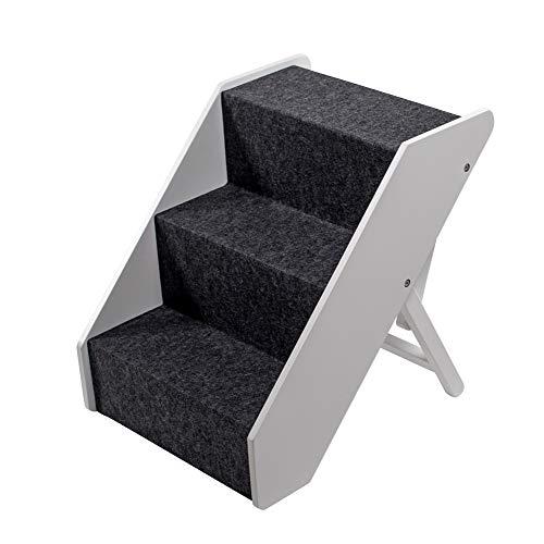 UPP Hundetreppe Premium   Massiv aus FSC Holz und höhenverstellbar  3-stufige Treppe für Hunde bis 70...