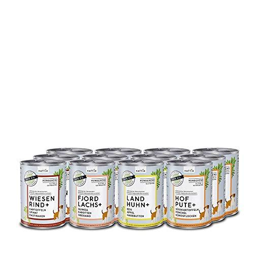 naftie Bio Hundefutter Mischpakete | purinarmes Nassfutter Menüs Spar-Pakete mit 4 Sorten | Glutenfrei |...