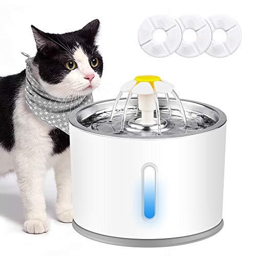 solawill Katzen Trinkbrunnen, Trinkbrunnen für Haustiere mit LED-Licht Leise Katzenbrunnen mit 3...