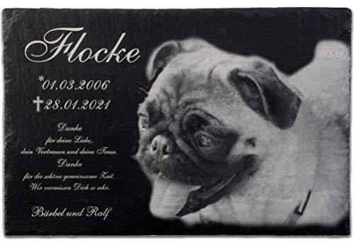 Pokal Center Westerheider Tiergrabstein aus Schiefer mit Gravur und Foto - Gedenktafel für Hunde &...