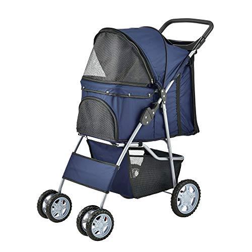 pro.tec] Hundewagen Pet Stroller Hundebuggy Regenschutz zum Schieben Roadster inkl. Einkaufstasche Blau