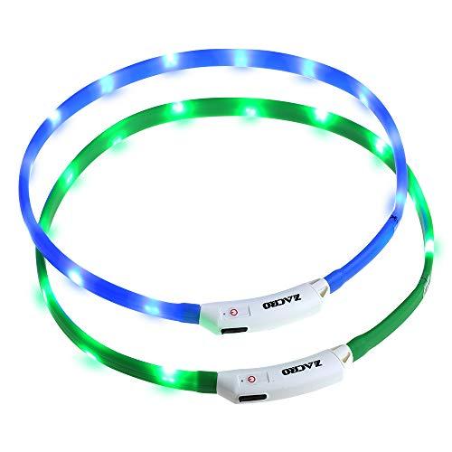 Zacro leuchthalsband Hund 2 Stück hundehalsband Leuchtend USB Wiederaufladbares und...