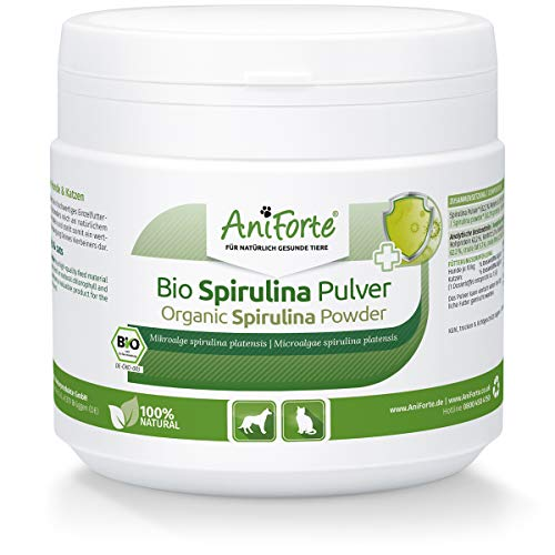 AniForte Bio Spirulina Pulver für Hunde & Katzen 250g, Mikroalge unterstützt Haut & Fell, Immunsystem &...
