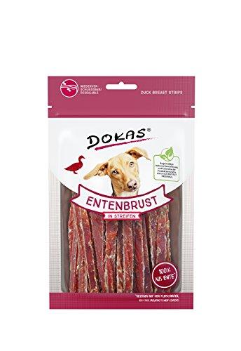 DOKAS Getreidefreier Premium Snack in Streifen für Hunde – Aus Entenbrustfilet