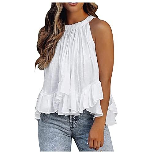 Schulterfrei Top Kolylong® Damen Sommer Ärmellose Chiffon Neckholder Sexy Tops Casual Weste Shirt...