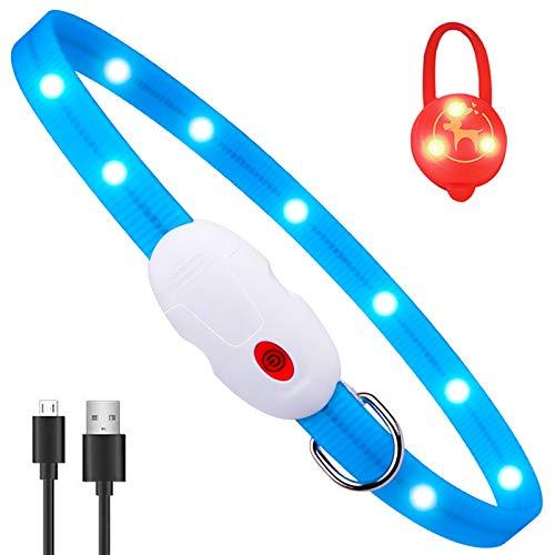 Oladwolf Leuchthalsband Hund Aufladbar, LED Hundehalsband Leuchtend wasserdicht Längenverstellbar USB,...