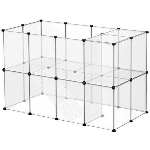 SONGMICS Freigehege, Laufstall, Haustierkäfig, Gehege, mit Treppen, 143 x 73 x 91 cm, aus Kunststoff,...